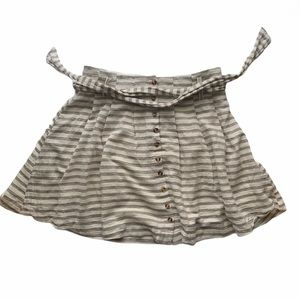 Striped cotton gray & white pleated skirt w/ belt